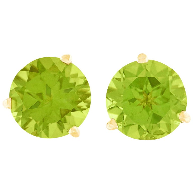 Big Peridot Gold Stud Earrings For Sale