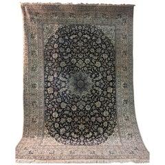 Big Persian Fine Wool and Silk Nain Rug