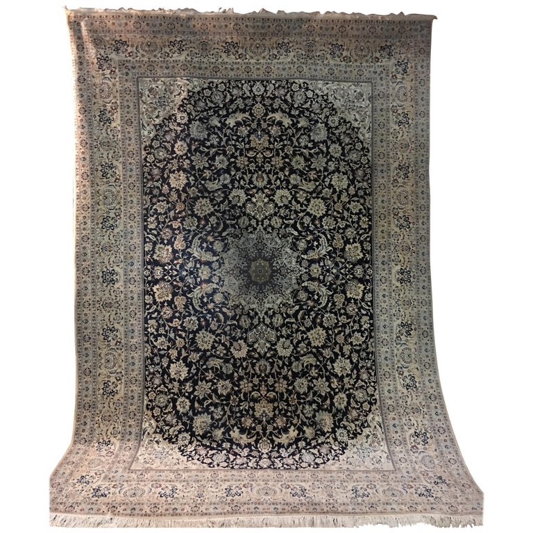 Ivory Wool And Silk Persian Naein Area Rug For Sale At 1stdibs: Big Persian Fine Wool And Silk Nain Rug For Sale At 1stdibs