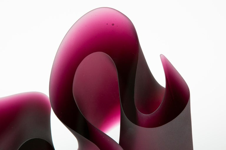 Danish Big Pink Line Unique Glass Sculpture by Karin Mørch For Sale