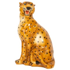 Big Rare Ceramic Leopard Decorative Sculpture, Italy, 1960s