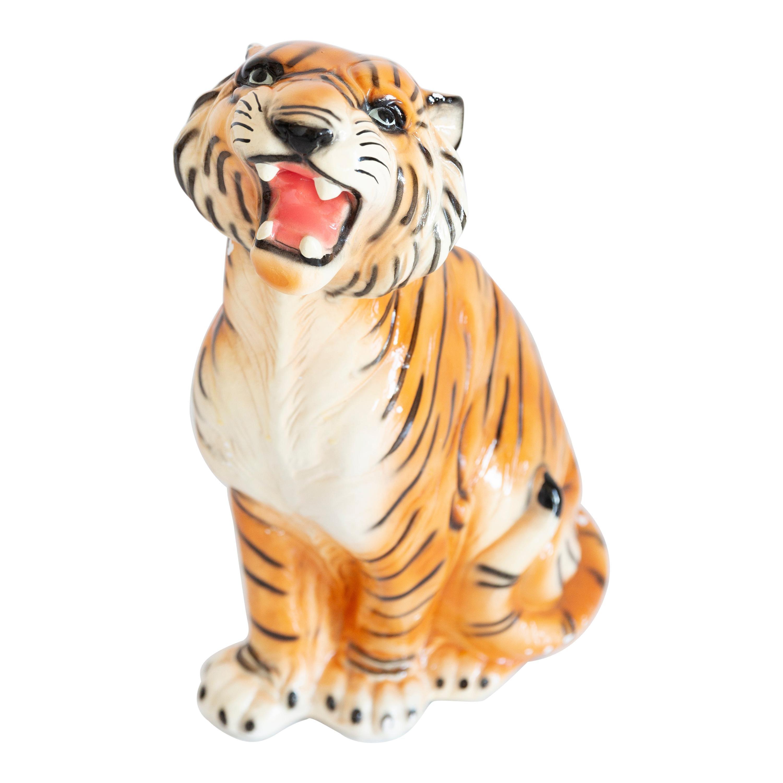 Big Rare Ceramic Tiger Decorative Sculpture, Italy, 1960s