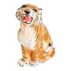 Big Rare Ceramic Tiger Decorative Sculpture, Italy, 1960s