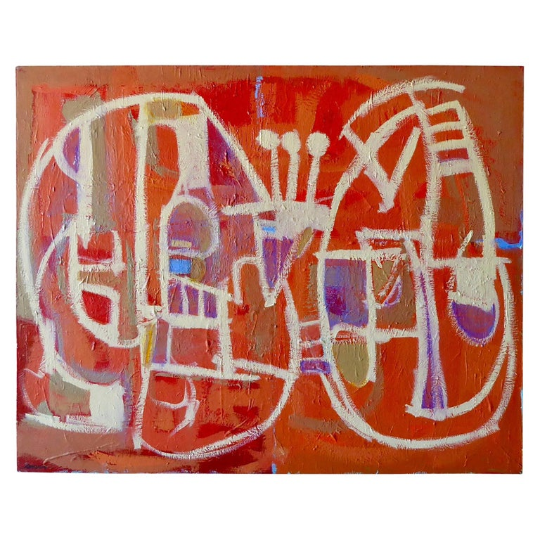 """""""Big Red"""" a Large Acrylic on Canvas Painting by American Artist Ken Joaquin For Sale"""