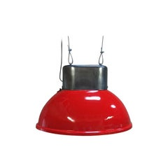 Big Red Industrial Vintage European Original Steel Pendant Lamp