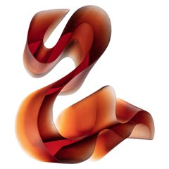 Big Reddish Line, a Unique Orange / Red Cast Glass Sculpture by Karin Mørch