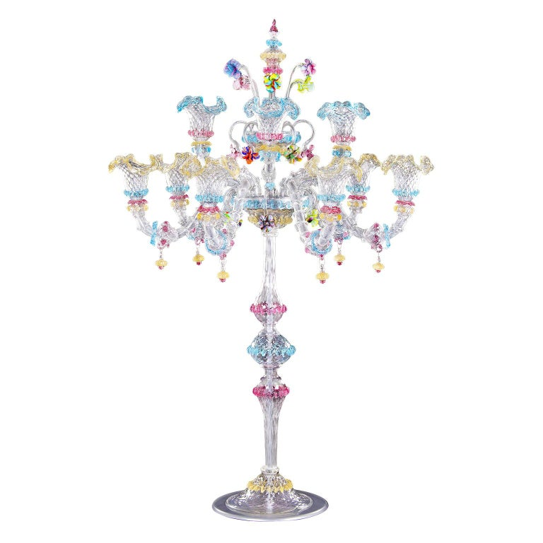 Big Rezzonico Flambeau 6+3 Arms, Clear and Multi-Color Glass by Multiforme For Sale