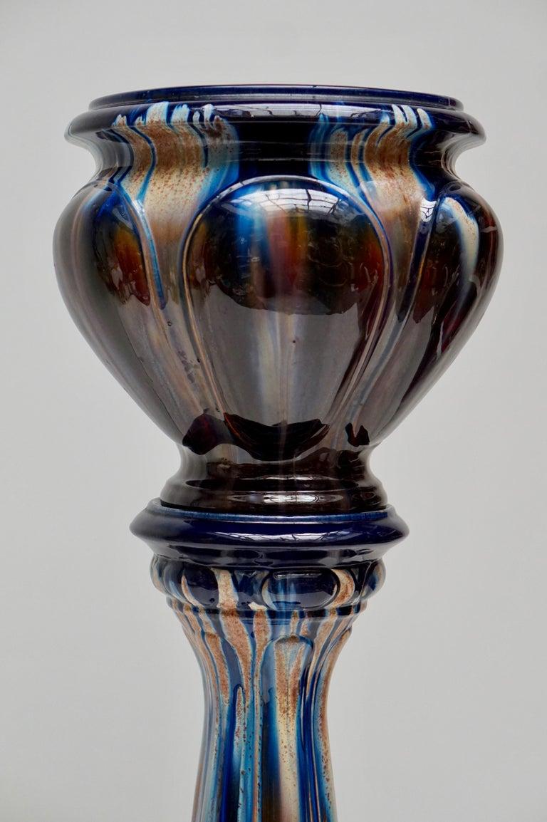 Belgian Big Richly Glazed Hand Thrown Ceramic Handled Planter Jardinière on a Column For Sale