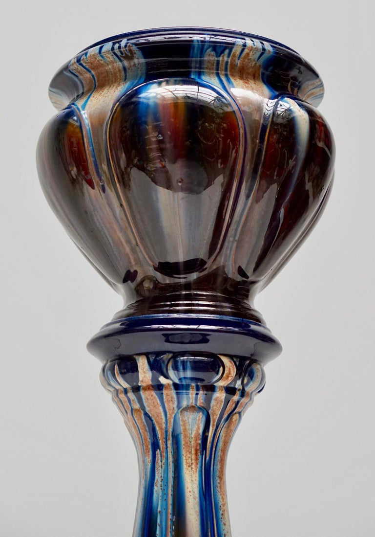 Big Richly Glazed Hand Thrown Ceramic Handled Planter Jardinière on a Column In Good Condition For Sale In Antwerp, BE