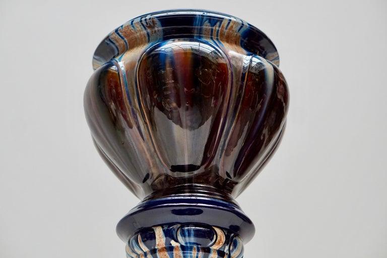 20th Century Big Richly Glazed Hand Thrown Ceramic Handled Planter Jardinière on a Column For Sale