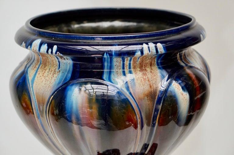 Big Richly Glazed Hand Thrown Ceramic Handled Planter Jardinière on a Column For Sale 1