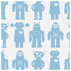 Big Robots Designer Wallpaper in Robin 'Robin Blue on White'