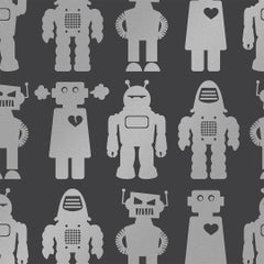Big Robots Designer Wallpaper in Color Thunder 'Metallic Silver on Charcoal'