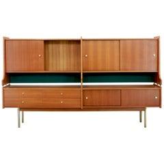 Big Scandinavian vintage Sideboard, Teak Wood and Brass, 1950s Swedish Vintage