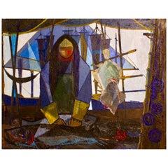 "Big Size ""Fisherman"" Oil on Canvas, Denmark, 1950s"