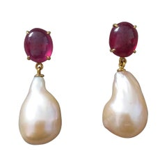 Big Size Pear Shape Cream Color Pearls Oval Ruby Cabochon 14 Karat Gold Earrings