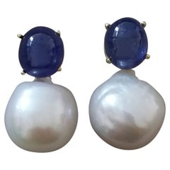 Big Size White Baroque Pearls Oval Blue Sapphires Cabochons Yellow Gold Earrings