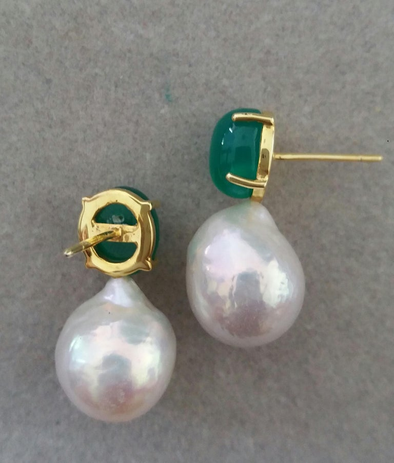 Women's Big Size White Baroque Pearls Oval Green Onyx Cabochons Yellow Gold Earrings For Sale