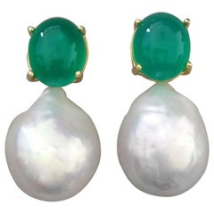 Big Size White Baroque Pearls Oval Green Onyx Cabochons Yellow Gold Earrings