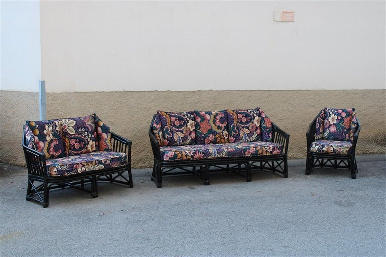 Big Sofa Vivai del Sud Italian Design Bamboo Black Flowers Multi-Color, 1970s For Sale 5