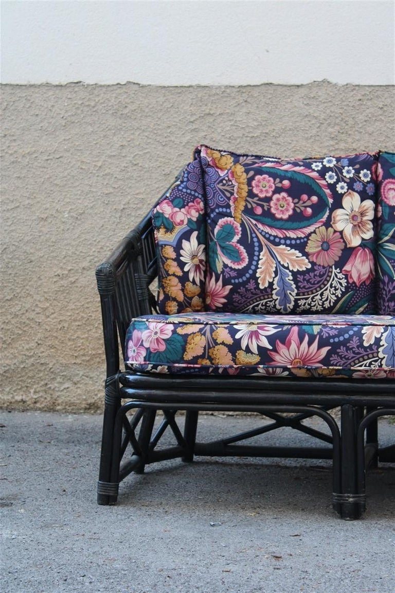 Big sofa Vivai del Sud Italian design bamboo black flowers multi-color, 1970s.