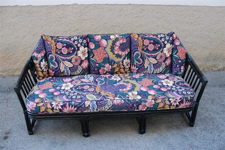 Mid-Century Modern Big Sofa Vivai del Sud Italian Design Bamboo Black Flowers Multi-Color, 1970s For Sale