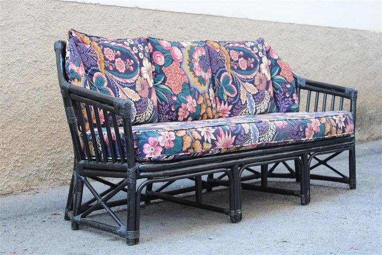 Big Sofa Vivai del Sud Italian Design Bamboo Black Flowers Multi-Color, 1970s In Good Condition For Sale In Palermo, Sicily
