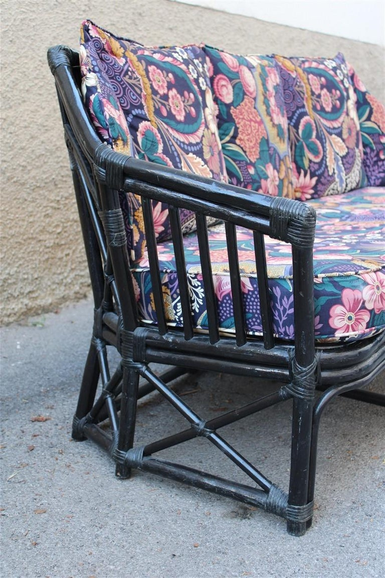 Late 20th Century Big Sofa Vivai del Sud Italian Design Bamboo Black Flowers Multi-Color, 1970s For Sale