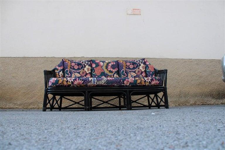 Fabric Big Sofa Vivai del Sud Italian Design Bamboo Black Flowers Multi-Color, 1970s For Sale