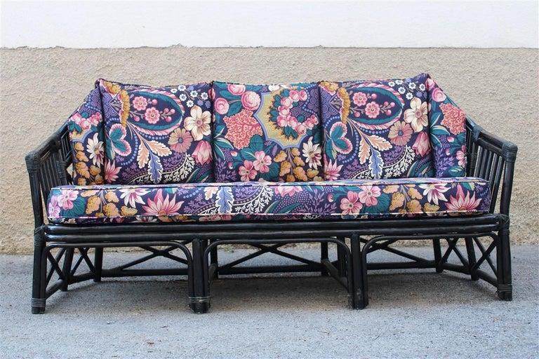 Big Sofa Vivai del Sud Italian Design Bamboo Black Flowers Multi-Color, 1970s For Sale 1