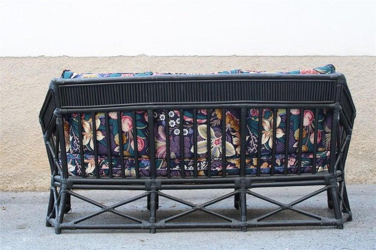 Big Sofa Vivai del Sud Italian Design Bamboo Black Flowers Multi-Color, 1970s For Sale 2