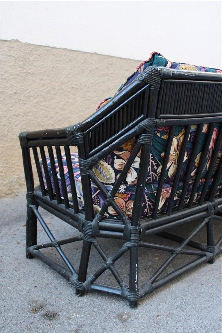 Big Sofa Vivai del Sud Italian Design Bamboo Black Flowers Multi-Color, 1970s For Sale 3