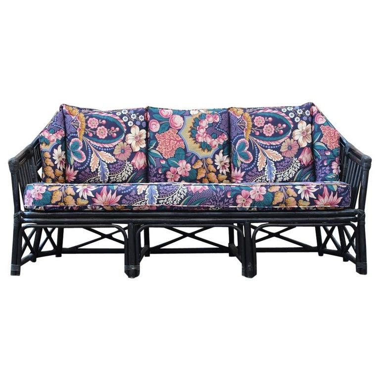Big Sofa Vivai del Sud Italian Design Bamboo Black Flowers Multi-Color, 1970s For Sale