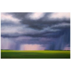 """Big Storm Palette"" Green, Blue Oil Landscape by Storm Chaser Ian Sheldon"