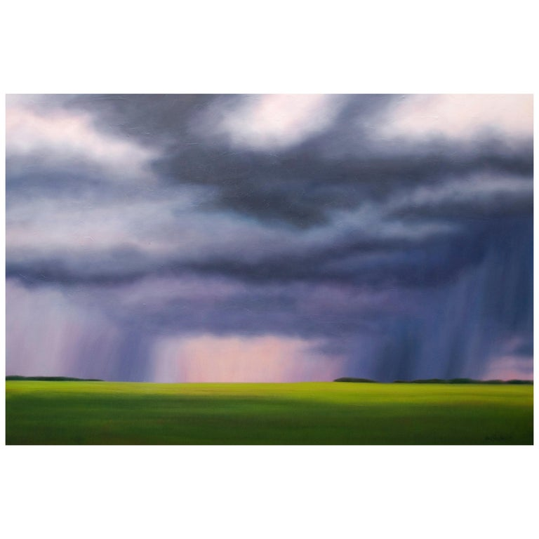 """Big Storm Palette"" Green, Blue Oil Landscape by Storm Chaser Ian Sheldon For Sale"