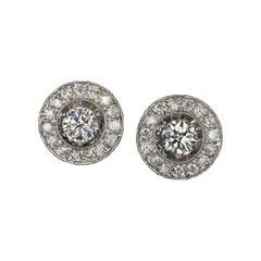 Big Stud Earrings Halo 2.30 Carat Natural Diamonds White Gold Vintage
