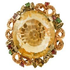 Big Topaz, Diamonds, Emeralds, Rubies, 9 Karat Rose Gold and Silver Retro Ring