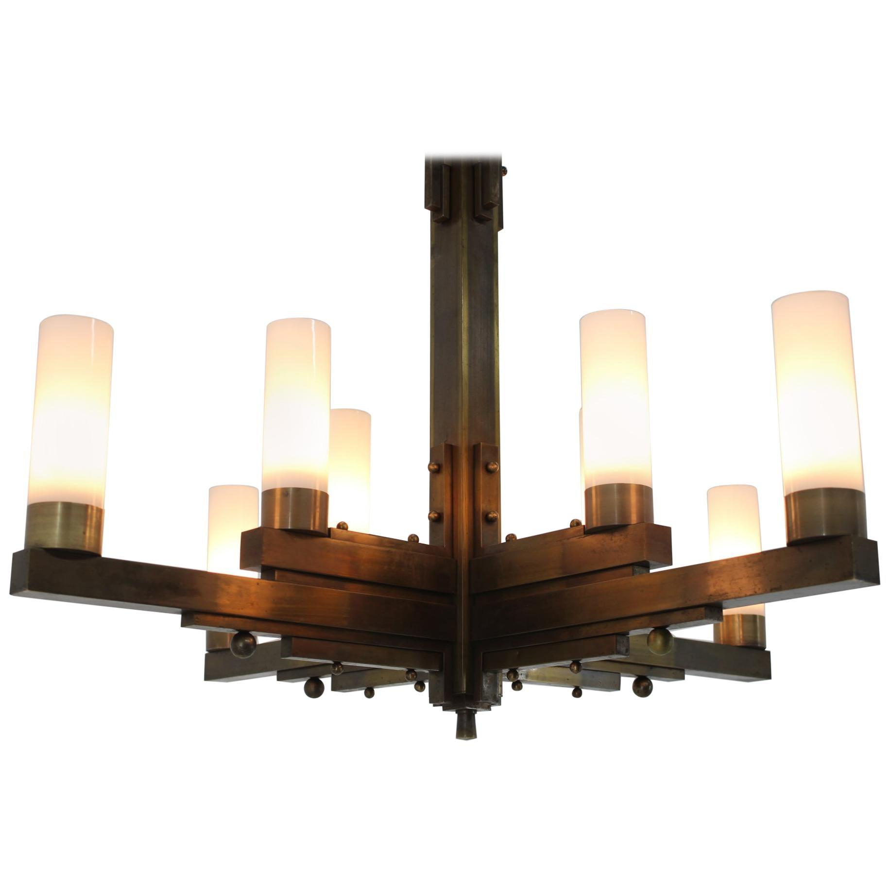 Big Unique Brass Bauhaus Art Deco Ceiling Lamp, Chandelier, 1930s