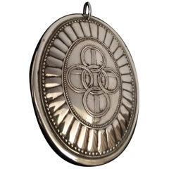 Big Vintage Silver Oval Medallion or Pendant