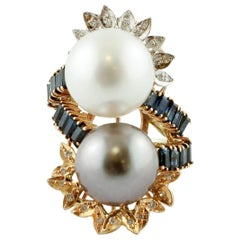 Big White and Grey Pearls Diamonds Sapphires, 14Kt White, Rose, Yellow Gold Ring