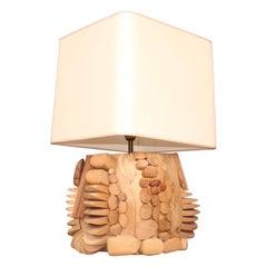 Big Wood Sculpture Table Lamp