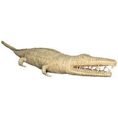 Big Woven Wicker Alligator