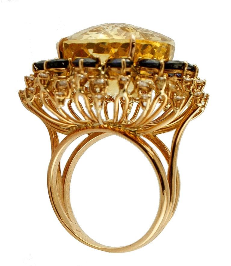 Round Cut Big Yellow Topaz, Diamonds, Blue Sapphires, 18 Karat Rose Gold Vintage Ring For Sale
