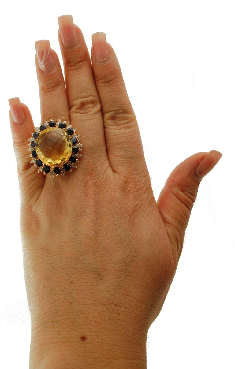 Women's Big Yellow Topaz, Diamonds, Blue Sapphires, 18 Karat Rose Gold Vintage Ring For Sale