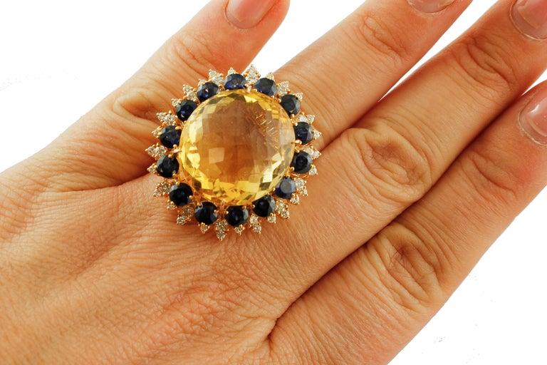 Big Yellow Topaz, Diamonds, Blue Sapphires, 18 Karat Rose Gold Vintage Ring For Sale 1