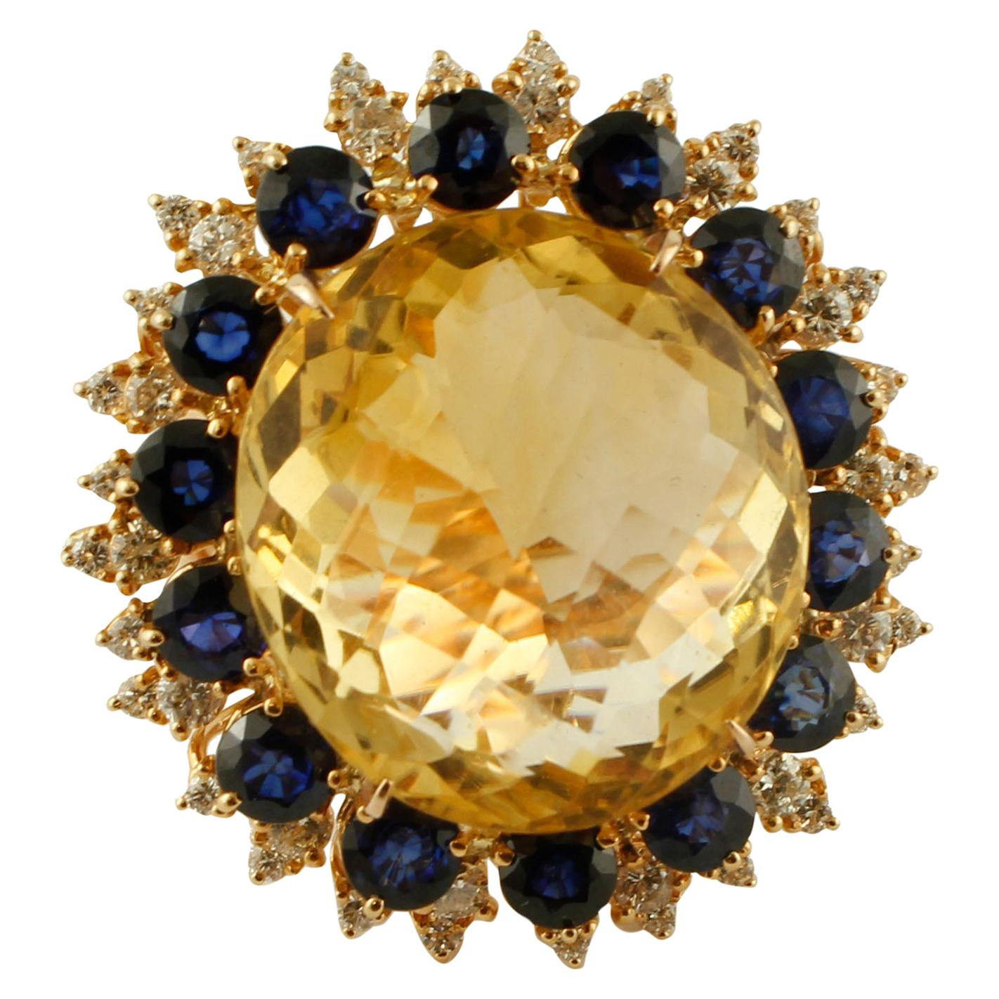 Big Yellow Topaz, Diamonds, Blue Sapphires, 18 Karat Rose Gold Vintage Ring