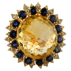 Big Yellow Topaz, Diamonds, Blue Sapphires, 18 Karat Rose Gold Vintage Ring