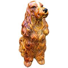 Bigger than Life-Size 1970s Italian Ceramic Spaniel Dog Statue