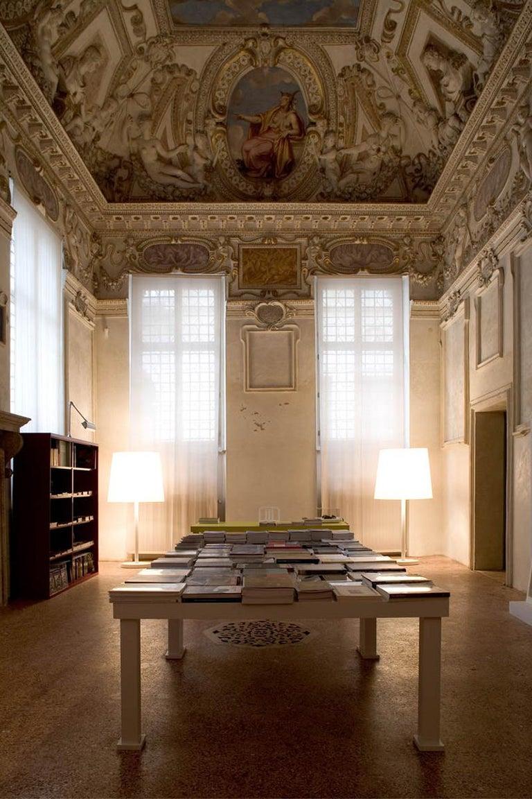 Modern Bigone White Lacquered Open-Pore Ash Floor Lamp Designed by Aldo Cibic For Sale