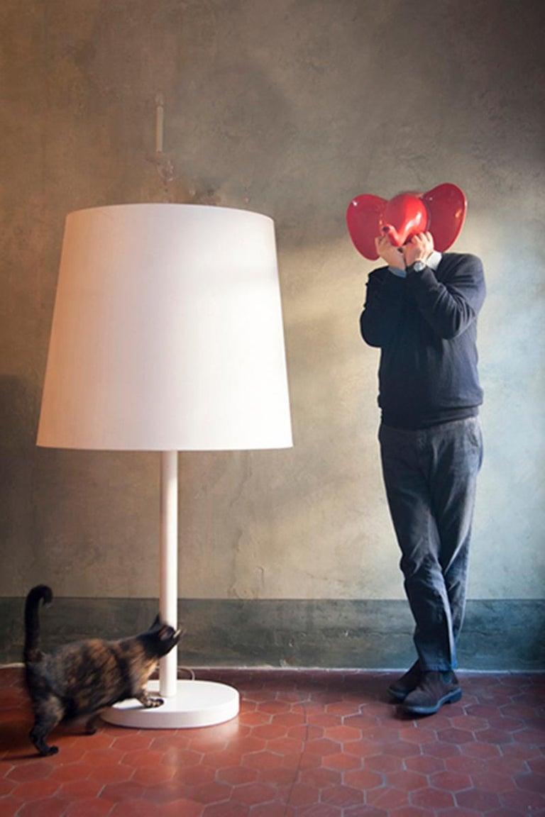Italian Bigone White Lacquered Open-Pore Ash Floor Lamp Designed by Aldo Cibic For Sale
